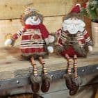 Handmade Cute Nordic Snowman Shelf Sitting Ornament Christmas Decoration With Dangly legs and knitted jumper.